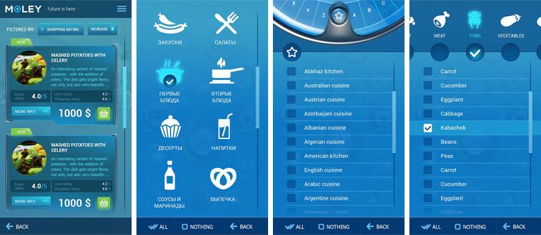 Дизайн интерфейса «Moley Robotics» мобильной версии внутренних страниц